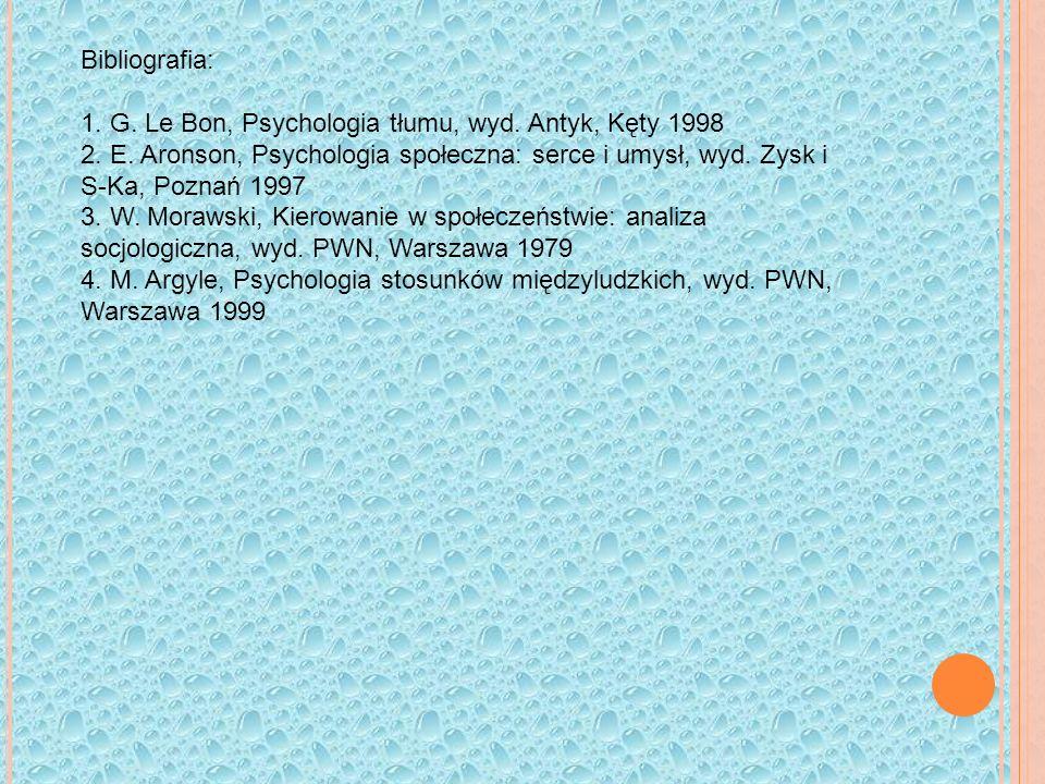Bibliografia: 1.G. Le Bon, Psychologia tłumu, wyd.
