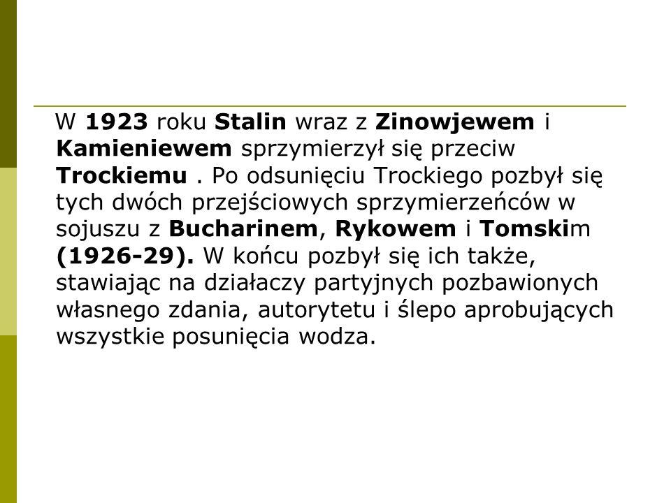 W 1923 roku Stalin wraz z Zinowjewem i Kamieniewem sprzymierzył się przeciw Trockiemu. Po odsunięciu Trockiego pozbył się tych dwóch przejściowych spr