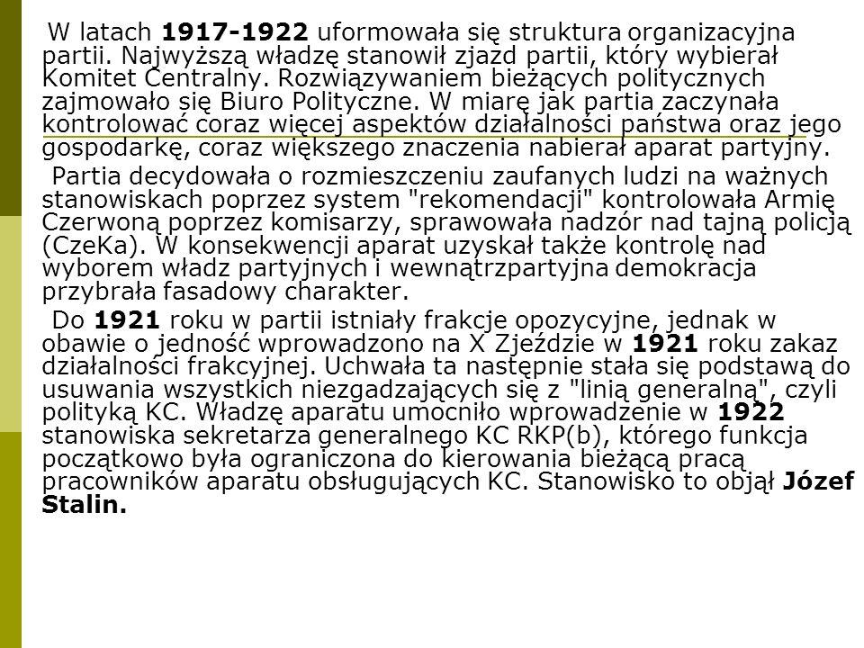 W latach 1917-1922 uformowała się struktura organizacyjna partii. Najwyższą władzę stanowił zjazd partii, który wybierał Komitet Centralny. Rozwiązywa