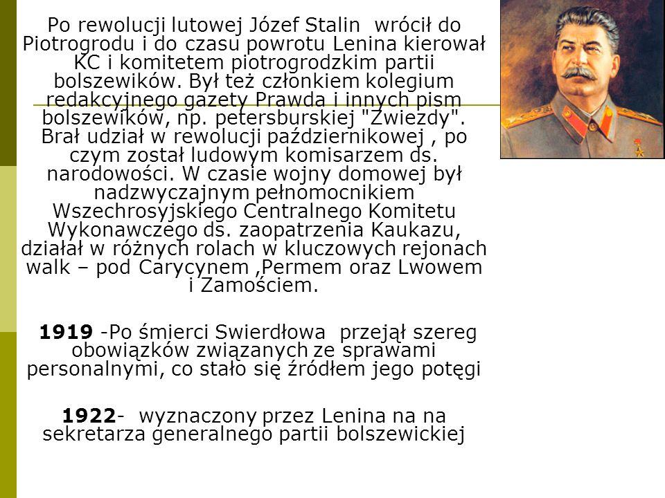 Po rewolucji lutowej Józef Stalin wrócił do Piotrogrodu i do czasu powrotu Lenina kierował KC i komitetem piotrogrodzkim partii bolszewików. Był też c