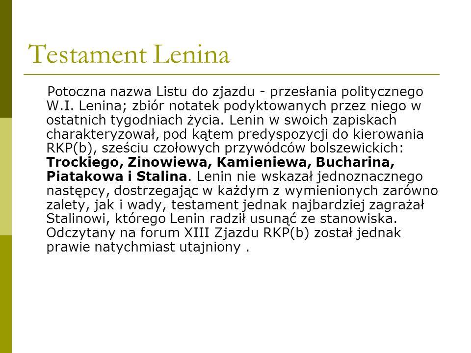 Testament Lenina Potoczna nazwa Listu do zjazdu - przesłania politycznego W.I. Lenina; zbiór notatek podyktowanych przez niego w ostatnich tygodniach