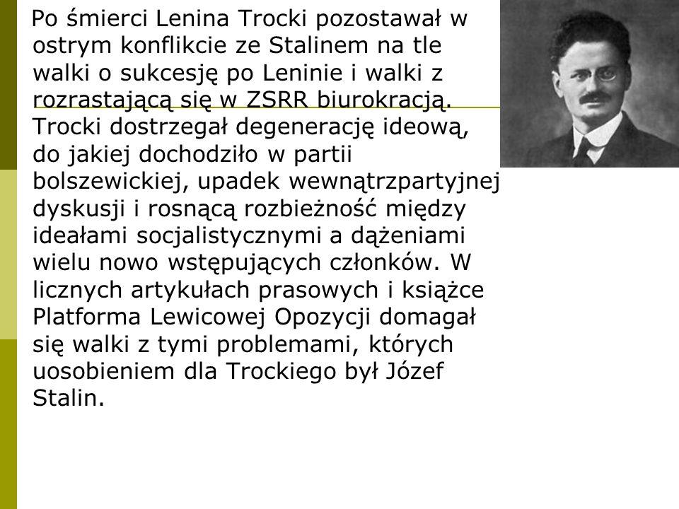 Po śmierci Lenina Trocki pozostawał w ostrym konflikcie ze Stalinem na tle walki o sukcesję po Leninie i walki z rozrastającą się w ZSRR biurokracją.