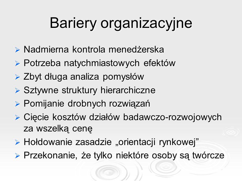 Bariery organizacyjne Nadmierna kontrola menedżerska Nadmierna kontrola menedżerska Potrzeba natychmiastowych efektów Potrzeba natychmiastowych efektó