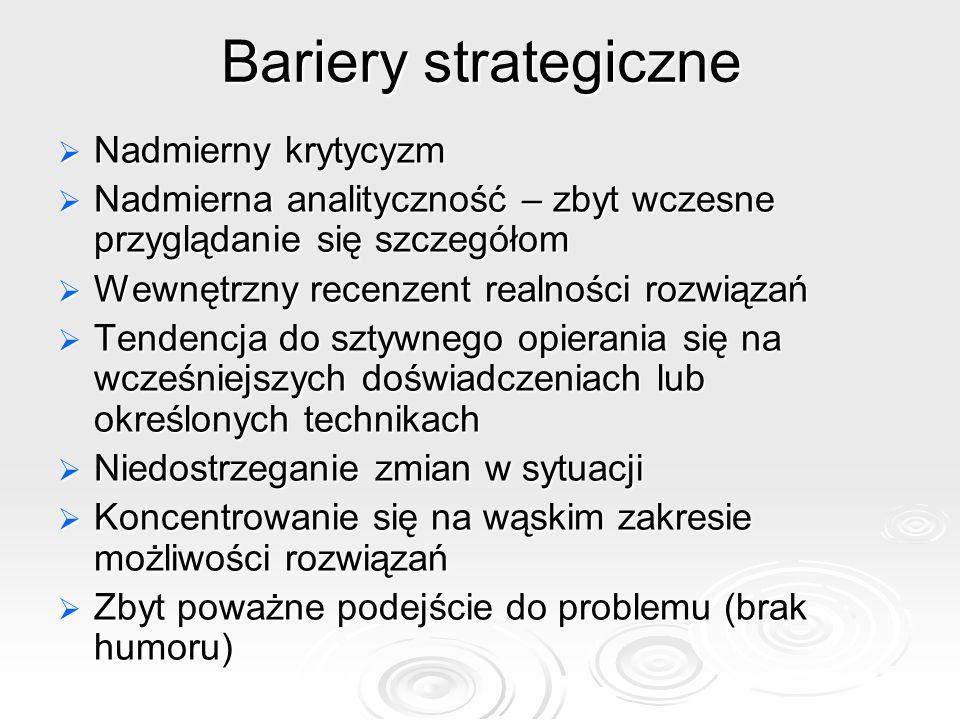 Bariery strategiczne Nadmierny krytycyzm Nadmierny krytycyzm Nadmierna analityczność – zbyt wczesne przyglądanie się szczegółom Nadmierna analitycznoś