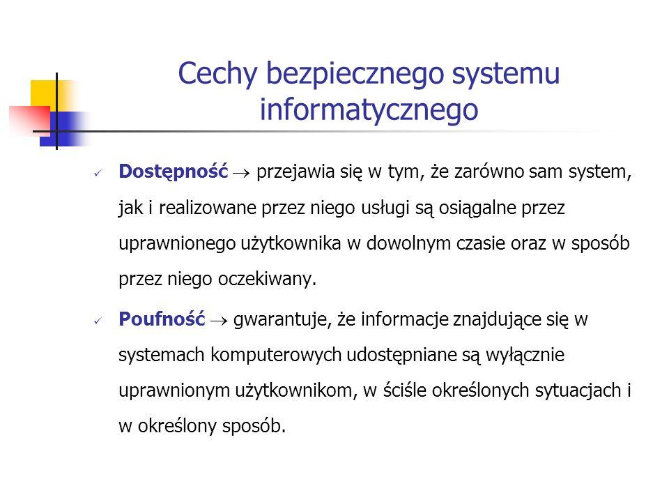 Cechy bezpiecznego systemu informatycznego Dostępność przejawia się w tym, że zarówno sam system, jak i realizowane przez niego usługi są osiągalne pr