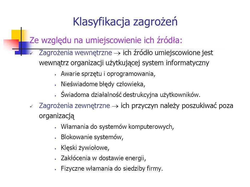 Klasyfikacja zagrożeń Ze względu na umiejscowienie ich źródła: Zagrożenia wewnętrzne ich źródło umiejscowione jest wewnątrz organizacji użytkującej sy