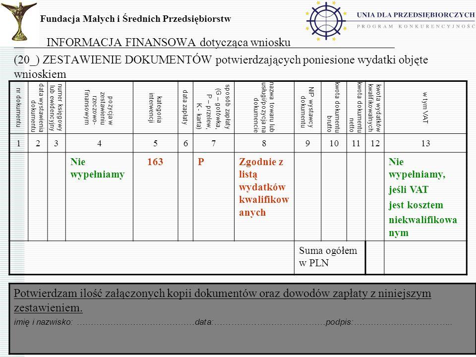 15 INFORMACJA FINANSOWA dotycząca wniosku (20_) ZESTAWIENIE DOKUMENTÓW potwierdzających poniesione wydatki objęte wnioskiem Fundacja Małych i Średnich