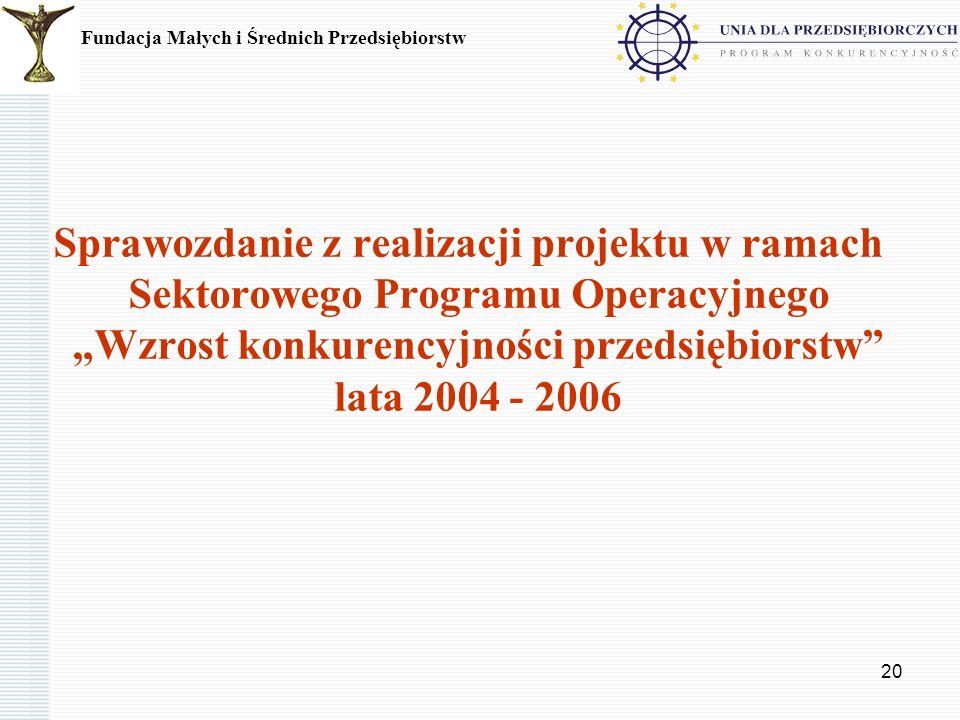 20 Sprawozdanie z realizacji projektu w ramach Sektorowego Programu Operacyjnego Wzrost konkurencyjności przedsiębiorstw lata 2004 - 2006 Fundacja Mał