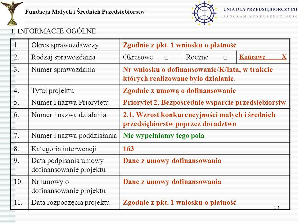21 I. INFORMACJE OGÓLNE Fundacja Małych i Średnich Przedsiębiorstw 1.Okres sprawozdawczyZgodnie z pkt. 1 wniosku o płatność 2.Rodzaj sprawozdaniaOkres