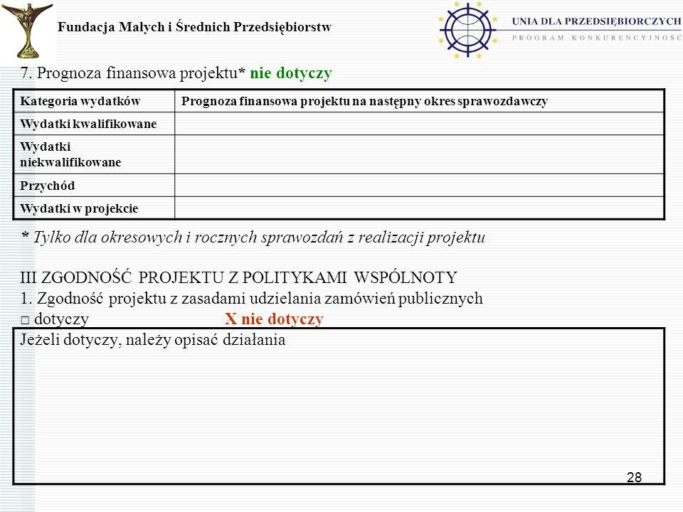 28 7. Prognoza finansowa projektu* nie dotyczy * Tylko dla okresowych i rocznych sprawozdań z realizacji projektu III ZGODNOŚĆ PROJEKTU Z POLITYKAMI W