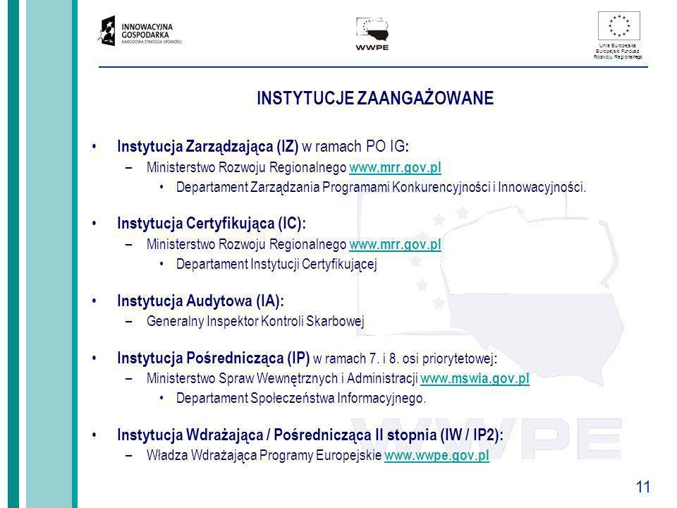 11 Unia Europejska Europejski Fundusz Rozwoju Regionalnego INSTYTUCJE ZAANGAŻOWANE Instytucja Zarządzająca (IZ) w ramach PO IG : –Ministerstwo Rozwoju