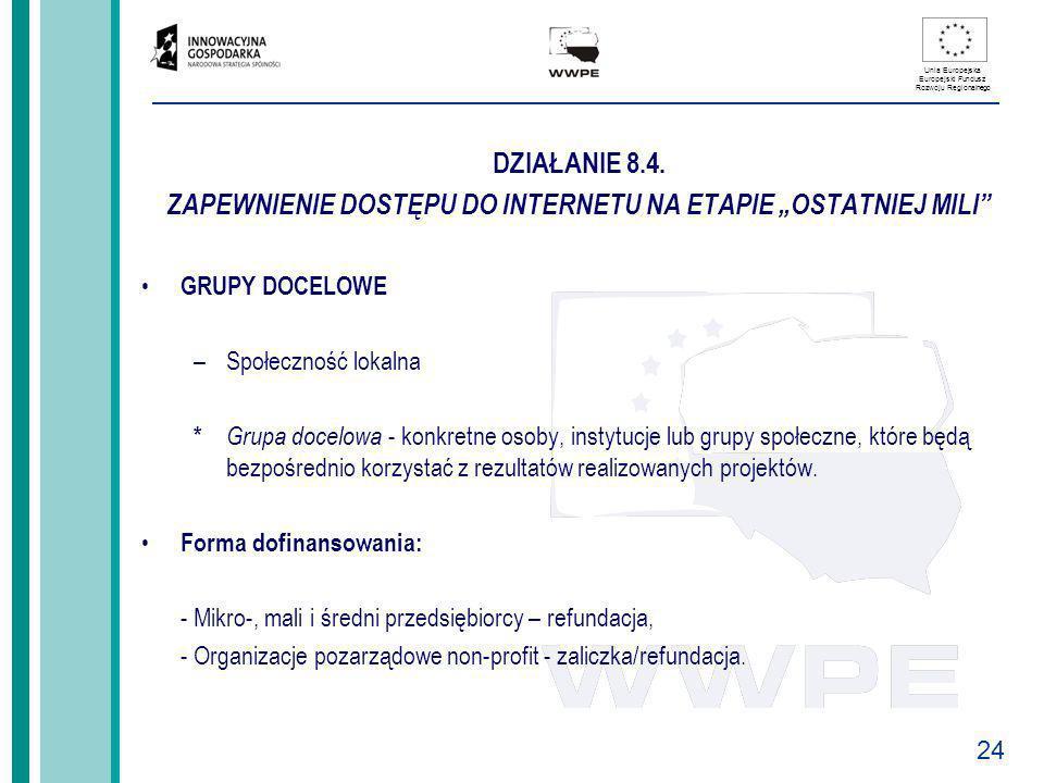 24 Unia Europejska Europejski Fundusz Rozwoju Regionalnego DZIAŁANIE 8.4. ZAPEWNIENIE DOSTĘPU DO INTERNETU NA ETAPIE OSTATNIEJ MILI GRUPY DOCELOWE –Sp