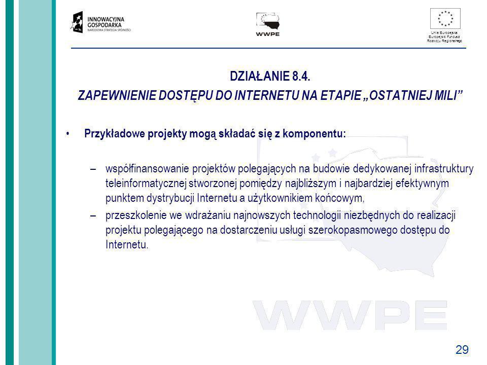 29 Unia Europejska Europejski Fundusz Rozwoju Regionalnego DZIAŁANIE 8.4. ZAPEWNIENIE DOSTĘPU DO INTERNETU NA ETAPIE OSTATNIEJ MILI Przykładowe projek