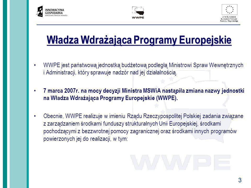 3 Unia Europejska Europejski Fundusz Rozwoju Regionalnego Władza Wdrażająca Programy Europejskie WWPE jest państwową jednostką budżetową podległą Mini