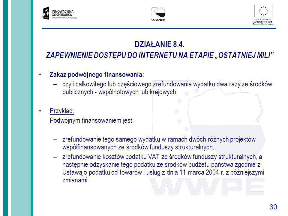 30 Unia Europejska Europejski Fundusz Rozwoju Regionalnego DZIAŁANIE 8.4. ZAPEWNIENIE DOSTĘPU DO INTERNETU NA ETAPIE OSTATNIEJ MILI Zakaz podwójnego f