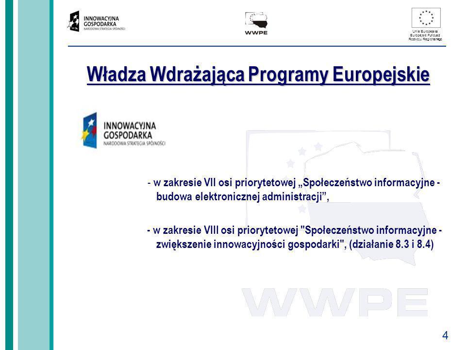4 Unia Europejska Europejski Fundusz Rozwoju Regionalnego Władza Wdrażająca Programy Europejskie - w zakresie VII osi priorytetowej Społeczeństwo info