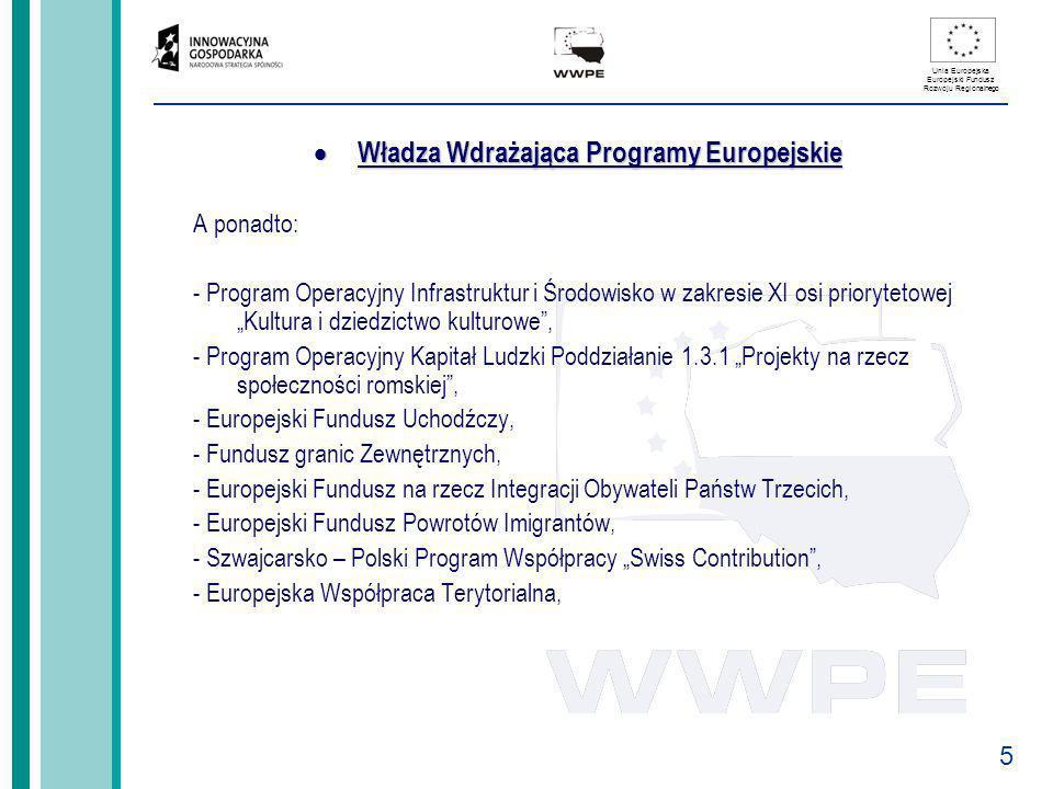 5 Unia Europejska Europejski Fundusz Rozwoju Regionalnego Władza Wdrażająca Programy Europejskie Władza Wdrażająca Programy Europejskie A ponadto: - P