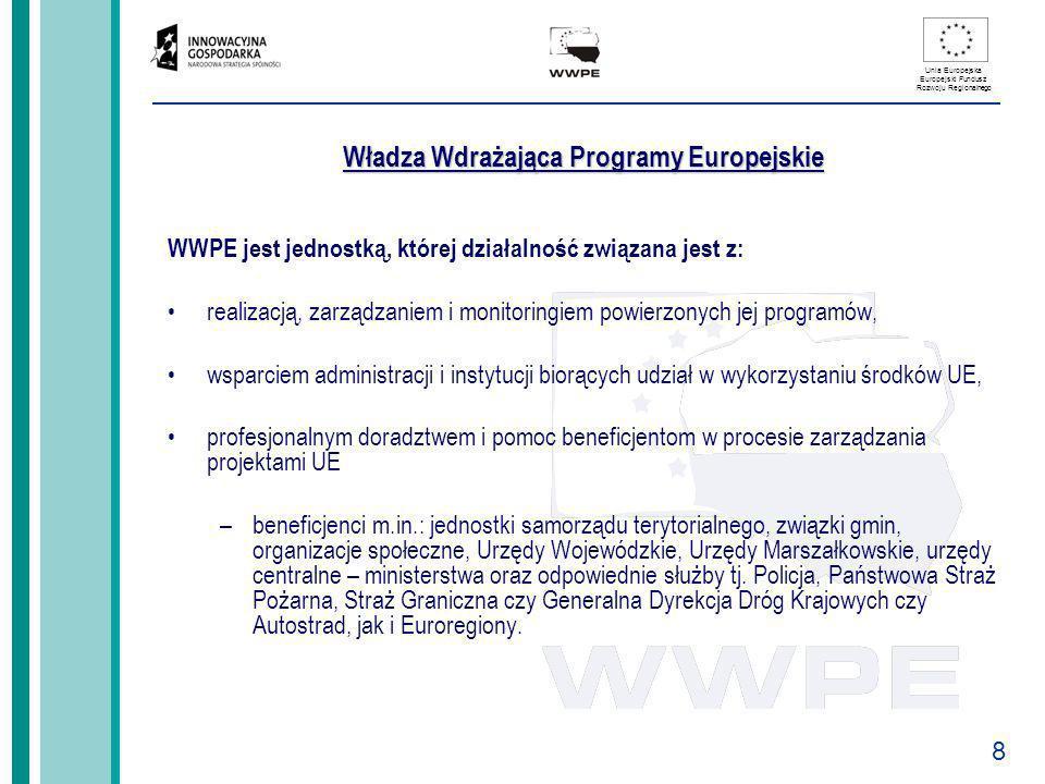 8 Unia Europejska Europejski Fundusz Rozwoju Regionalnego Władza Wdrażająca Programy Europejskie WWPE jest jednostką, której działalność związana jest