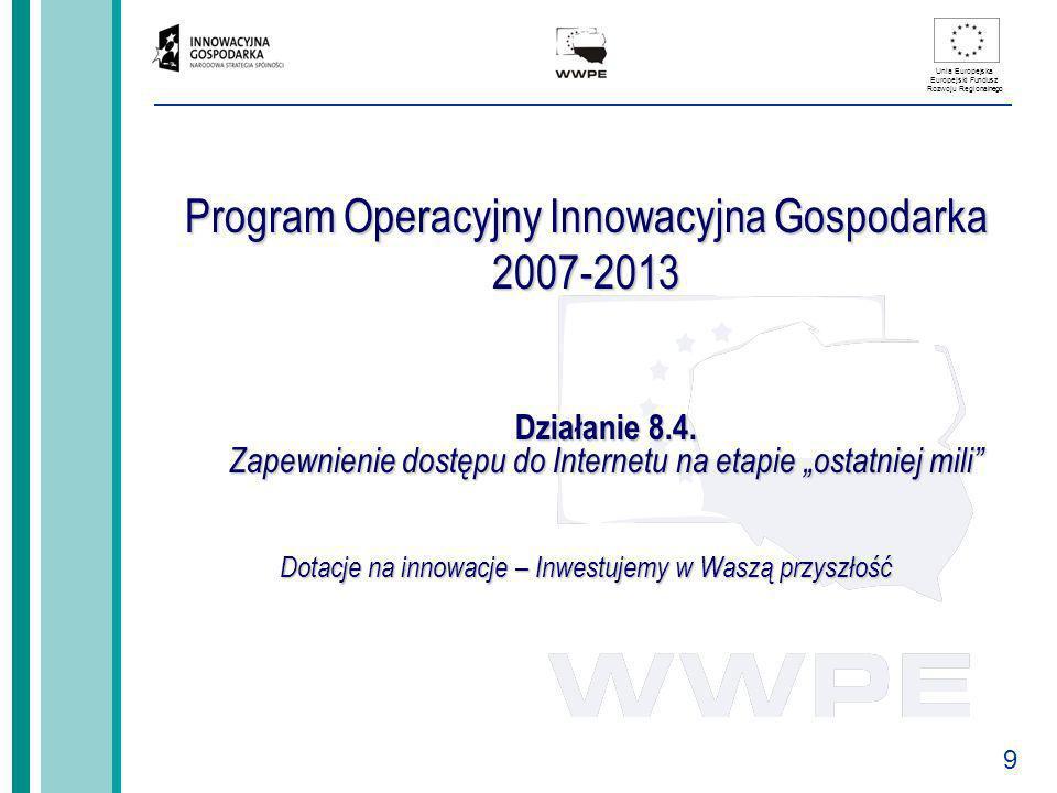 9 Unia Europejska Europejski Fundusz Rozwoju Regionalnego Program Operacyjny Innowacyjna Gospodarka 2007-2013 Działanie 8.4. Zapewnienie dostępu do In