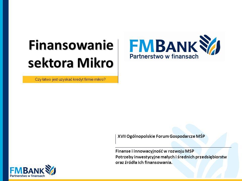 XVII Ogólnopolskie Forum Gospodarcze MŚP Finansowanie sektora Mikro Finanse i innowacyjność w rozwoju MSP Potrzeby inwestycyjne małych i średnich prze