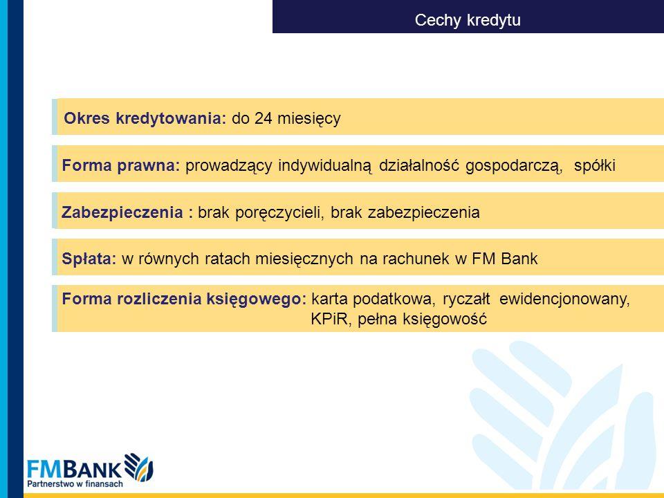 Okres kredytowania: do 24 miesięcy Cechy kredytu Zabezpieczenia : brak poręczycieli, brak zabezpieczenia Spłata: w równych ratach miesięcznych na rach