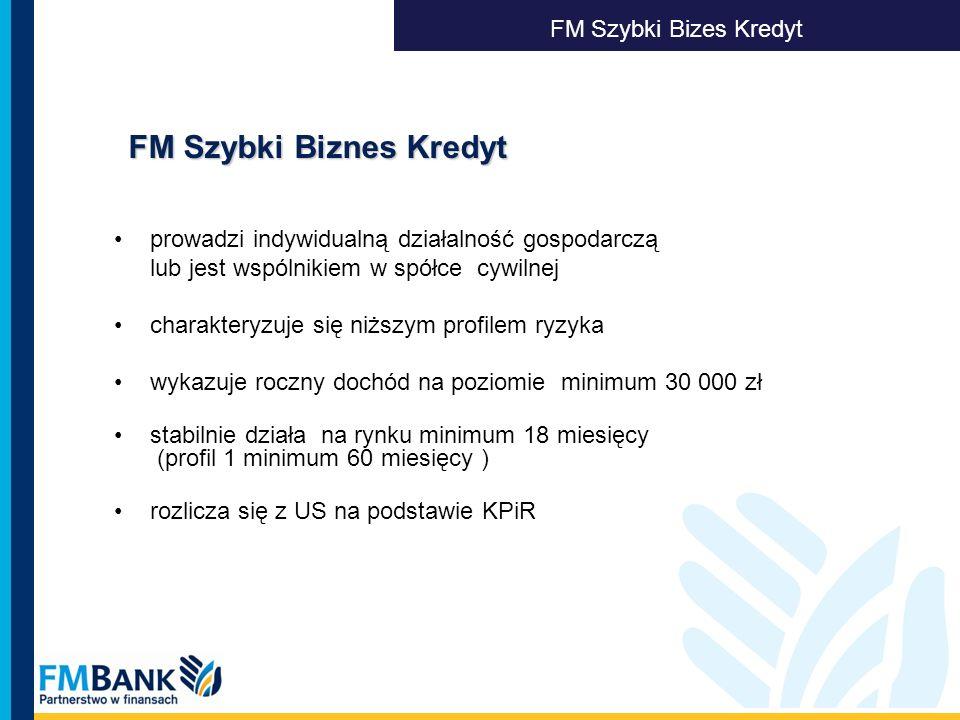 FM Szybki Biznes Kredyt FM Szybki Biznes Kredyt FM Szybki Bizes Kredyt prowadzi indywidualną działalność gospodarczą lub jest wspólnikiem w spółce cyw