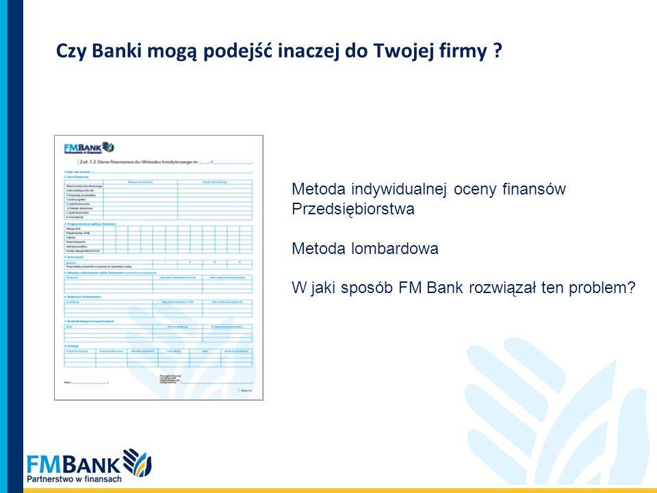 Czy Banki mogą podejść inaczej do Twojej firmy ? Metoda indywidualnej oceny finansów Przedsiębiorstwa Metoda lombardowa W jaki sposób FM Bank rozwiąza