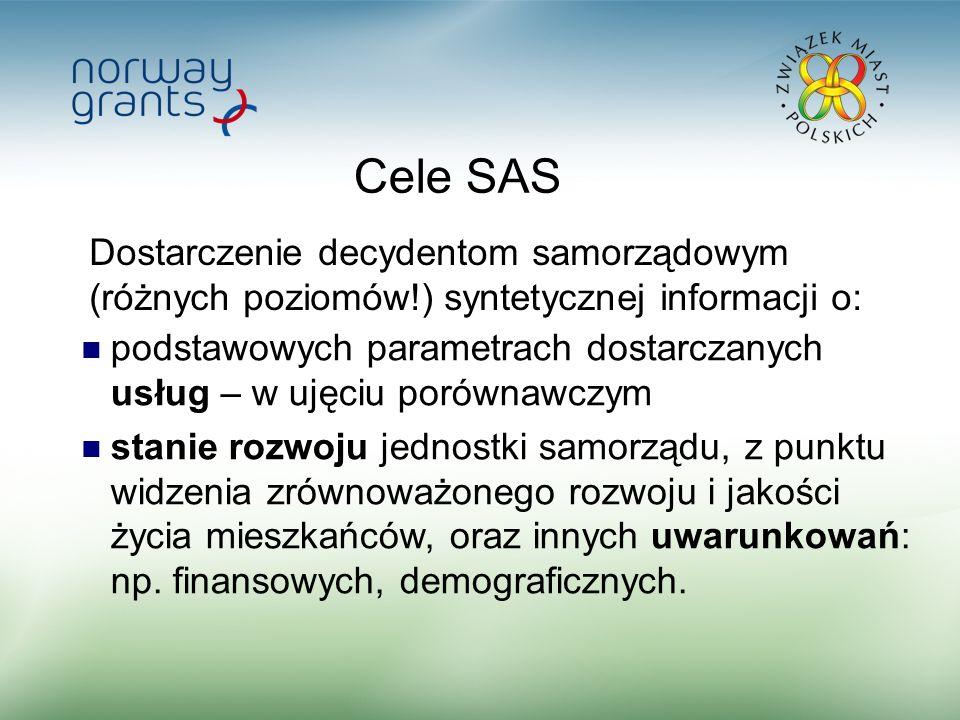 2 Cele SAS podstawowych parametrach dostarczanych usług – w ujęciu porównawczym stanie rozwoju jednostki samorządu, z punktu widzenia zrównoważonego rozwoju i jakości życia mieszkańców, oraz innych uwarunkowań: np.