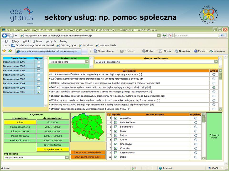33 sektory usług: np. pomoc społeczna