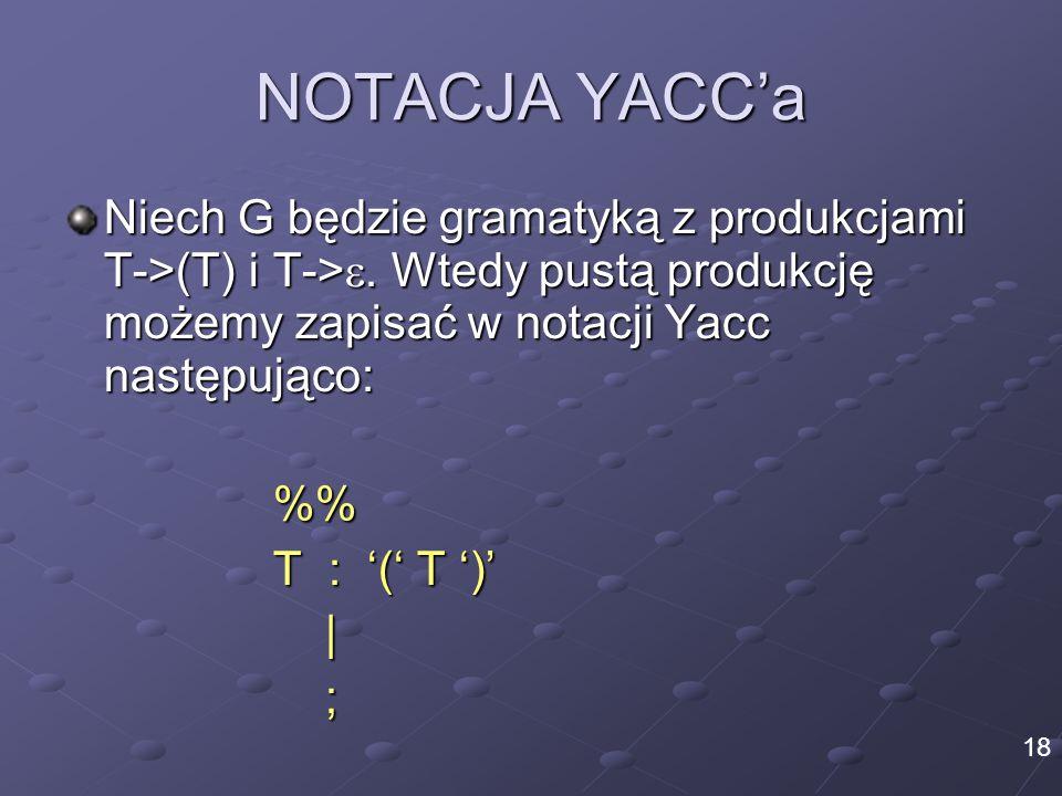 NOTACJA YACCa Niech G będzie gramatyką z produkcjami T->(T) i T->. Wtedy pustą produkcję możemy zapisać w notacji Yacc następująco: % T : ( T )  ; 18