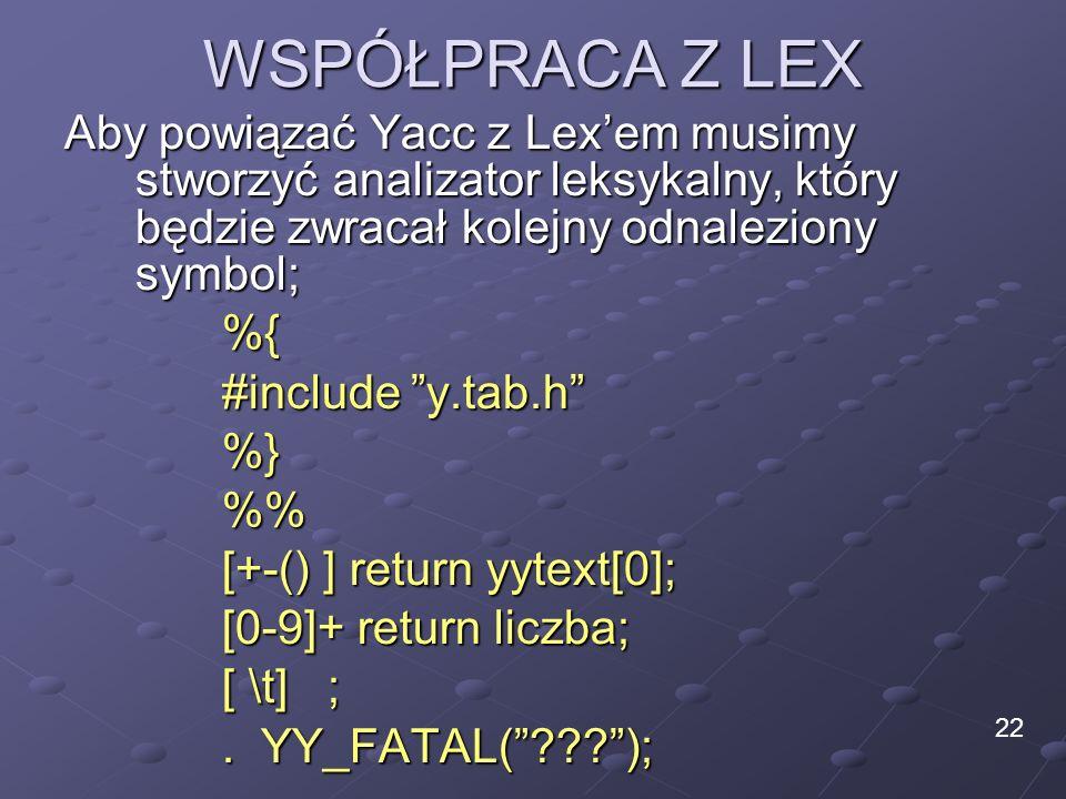 WSPÓŁPRACA Z LEX Aby powiązać Yacc z Lexem musimy stworzyć analizator leksykalny, który będzie zwracał kolejny odnaleziony symbol; %{ #include y.tab.h