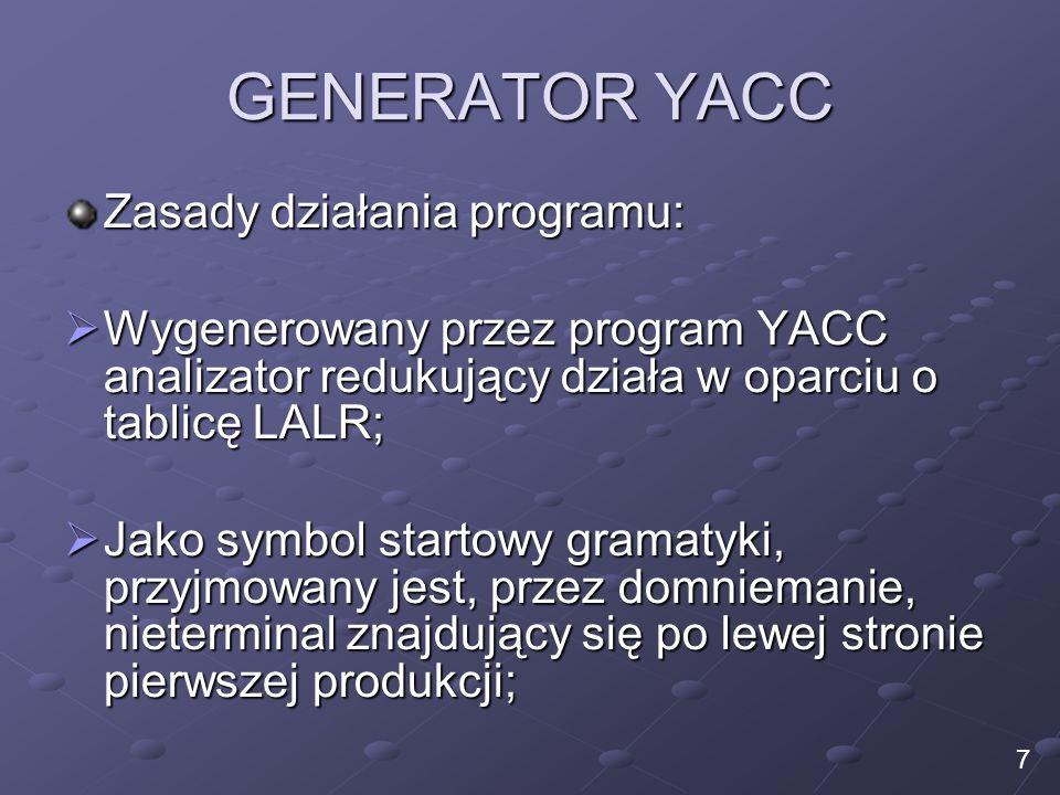 GENERATOR YACC Zasady działania programu: Wygenerowany przez program YACC analizator redukujący działa w oparciu o tablicę LALR; Wygenerowany przez pr