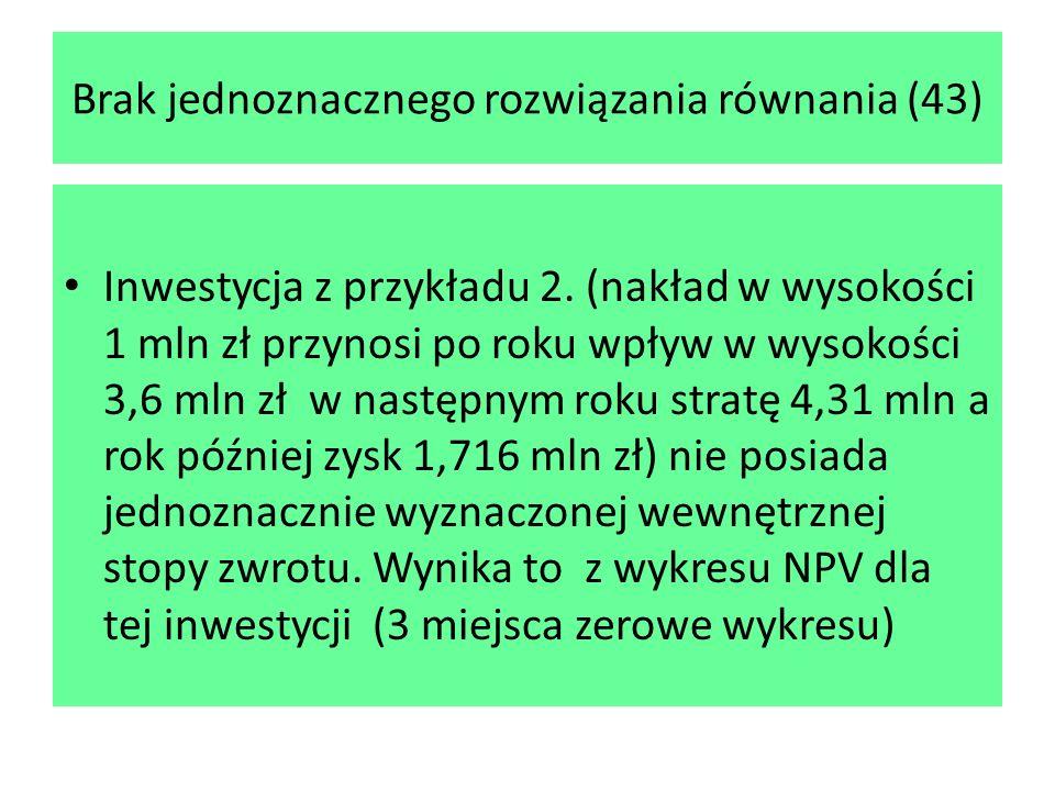 Brak jednoznacznego rozwiązania równania (43) Inwestycja z przykładu 2. (nakład w wysokości 1 mln zł przynosi po roku wpływ w wysokości 3,6 mln zł w n