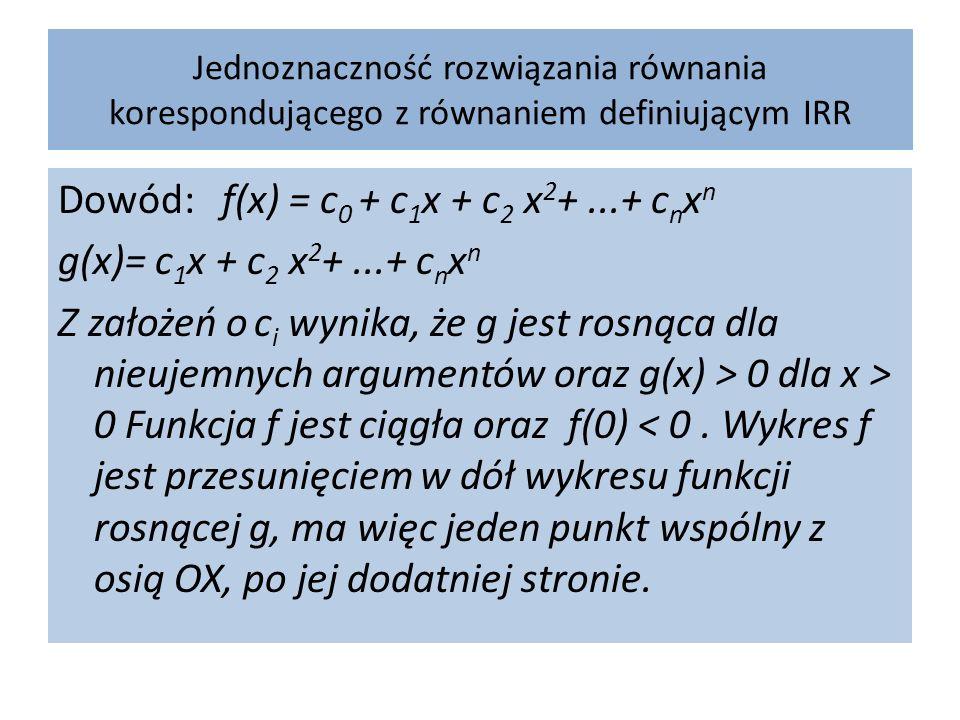 Jednoznaczność rozwiązania równania korespondującego z równaniem definiującym IRR Dowód: f(x) = c 0 + c 1 x + c 2 x 2 +...+ c n x n g(x)= c 1 x + c 2