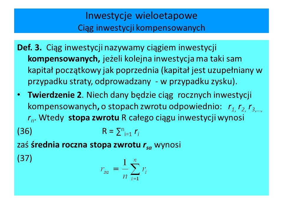 Inwestycje wieloetapowe Ciąg inwestycji kompensowanych Def. 3. Ciąg inwestycji nazywamy ciągiem inwestycji kompensowanych, jeżeli kolejna inwestycja m