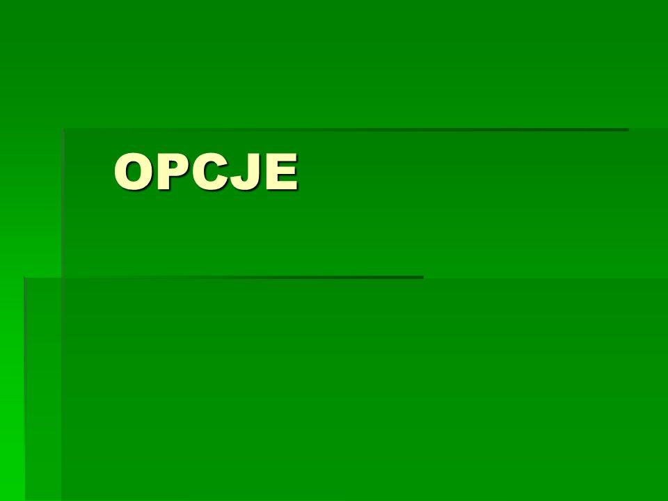 OPCJE - zagadnienia Funkcja wypłaty, funkcja zysku Terminy: in the money, out of the money Parytet cen opcji kupna i sprzedaży Ograniczenia na cenę opcji Rynek doskonały Wzory na wycenę opcji przy założeniu okresowej kapitalizacji odsetek Wzory na wycenę opcji przy założeniu ciągłej kapitalizacji odsetek Delta hedging Wartość wewnętrzna i wartość czasowa