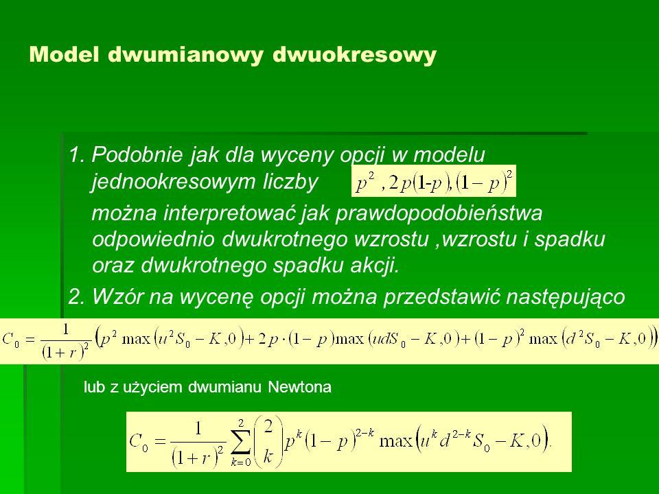Model dwumianowy dwuokresowy 1. Podobnie jak dla wyceny opcji w modelu jednookresowym liczby można interpretować jak prawdopodobieństwa odpowiednio dw