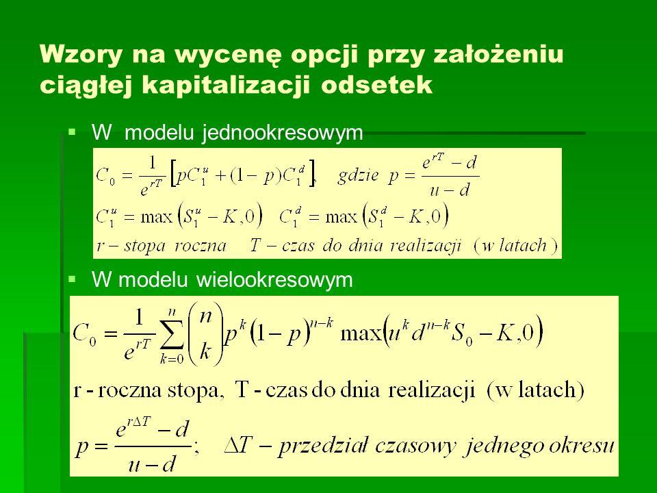 Wzory na wycenę opcji przy założeniu ciągłej kapitalizacji odsetek W modelu jednookresowym W modelu wielookresowym