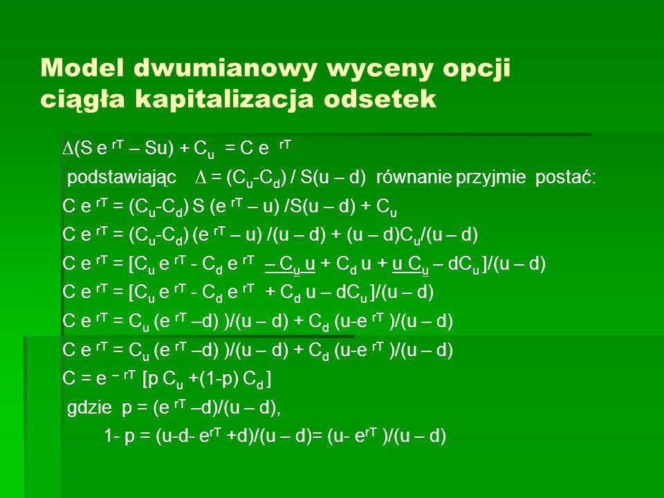 Model dwumianowy wyceny opcji ciągła kapitalizacja odsetek (S e rT – Su) + C u = C e rT podstawiając = (C u -C d ) / S(u – d) równanie przyjmie postać