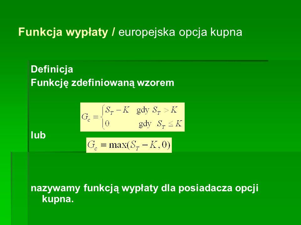 Funkcja wypłaty / europejska opcja kupna Definicja Funkcję zdefiniowaną wzorem lub nazywamy funkcją wypłaty dla posiadacza opcji kupna.