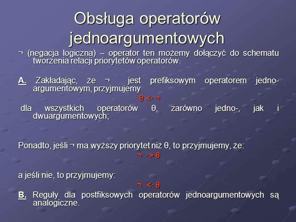 Obsługa operatorów jednoargumentowych ¬ (negacja logiczna) – operator ten możemy dołączyć do schematu tworzenia relacji priorytetów operatorów. A. Zak