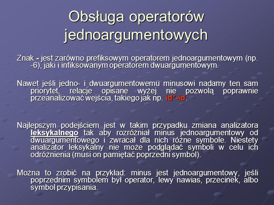 Obsługa operatorów jednoargumentowych Znak - jest zarówno prefiksowym operatorem jednoargumentowym (np. -6), jaki i infiksowanym operatorem dwuargumen