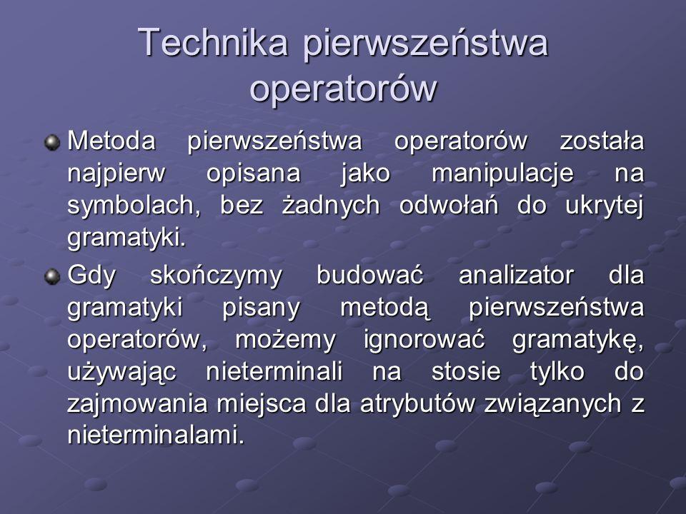 Technika pierwszeństwa operatorów Metoda pierwszeństwa operatorów została najpierw opisana jako manipulacje na symbolach, bez żadnych odwołań do ukryt