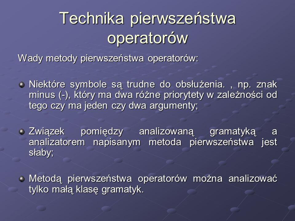 Technika pierwszeństwa operatorów Wady metody pierwszeństwa operatorów: Niektóre symbole są trudne do obsłużenia., np. znak minus (-), który ma dwa ró
