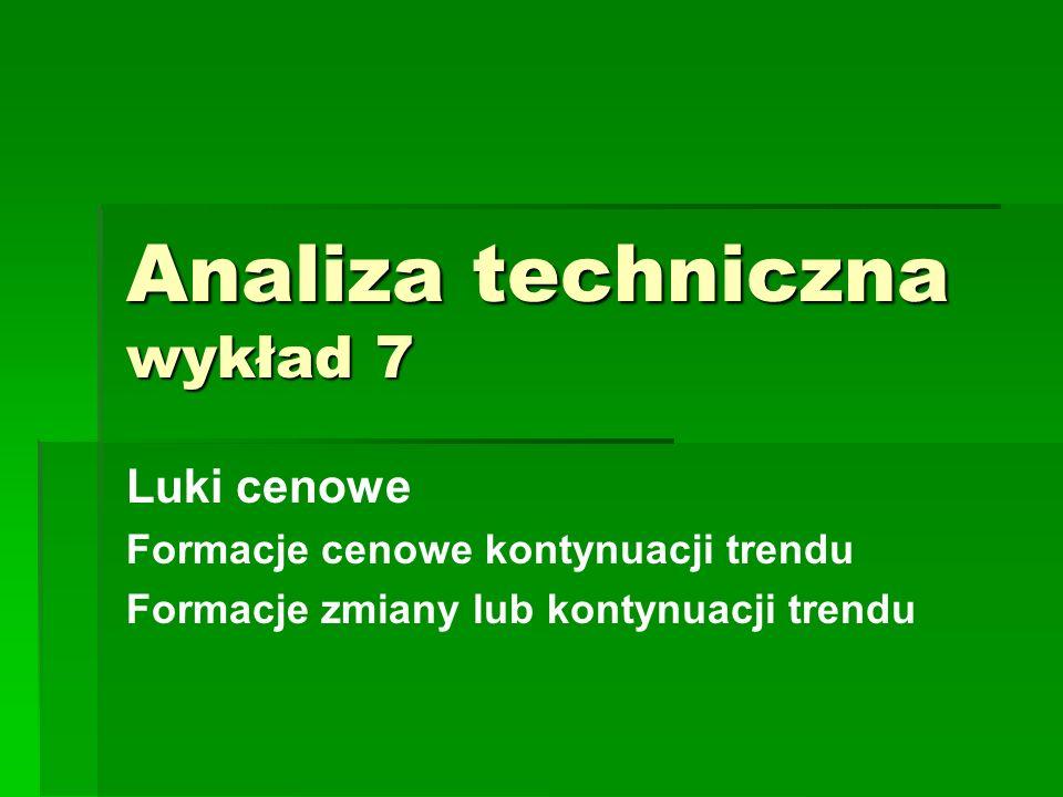 Analiza techniczna wykład 7 Luki cenowe Formacje cenowe kontynuacji trendu Formacje zmiany lub kontynuacji trendu