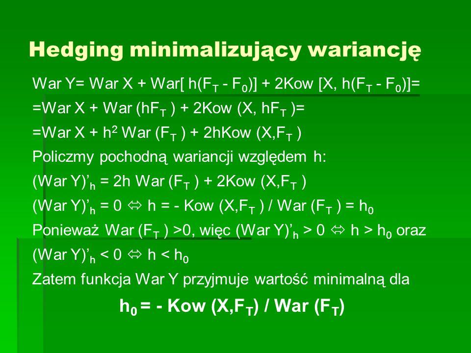 Hedging minimalizujący wariancję War Y= War X + War[ h(F T - F 0 )] + 2Kow [X, h(F T - F 0 )]= =War X + War (hF T ) + 2Kow (X, hF T )= =War X + h 2 Wa