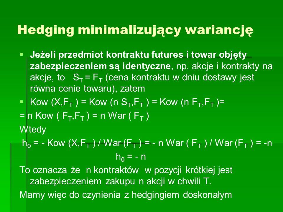 Hedging minimalizujący wariancję Jeżeli przedmiot kontraktu futures i towar objęty zabezpieczeniem są identyczne, np. akcje i kontrakty na akcje, to S
