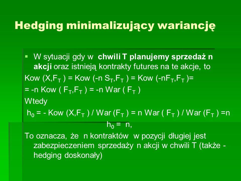 Hedging minimalizujący wariancję W sytuacji gdy w chwili T planujemy sprzedaż n akcji oraz istnieją kontrakty futures na te akcje, to Kow (X,F T ) = K