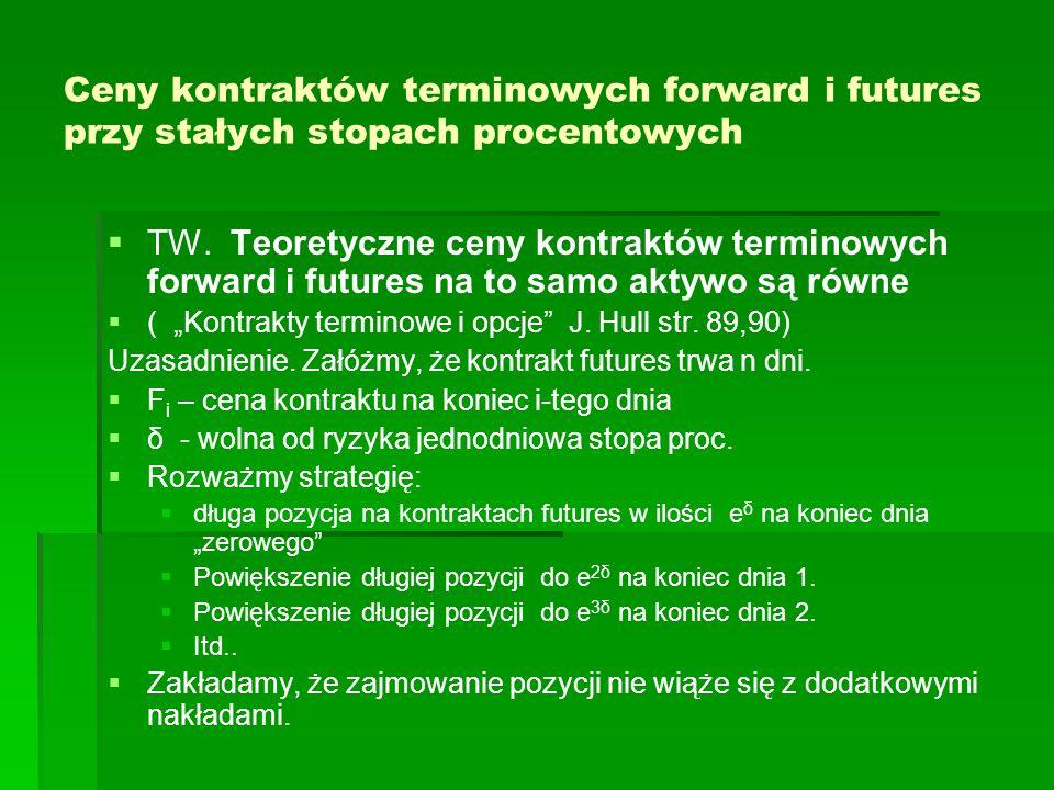 Ceny kontraktów terminowych forward i futures przy stałych stopach procentowych TW. Teoretyczne ceny kontraktów terminowych forward i futures na to sa