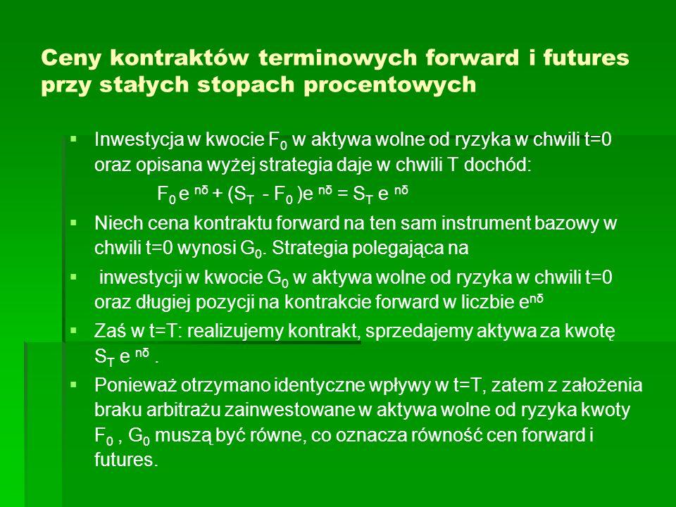 Hedging minimalizujący wariancję W sytuacji gdy w chwili T planujemy sprzedaż n akcji oraz istnieją kontrakty futures na te akcje, to Kow (X,F T ) = Kow (-n S T,F T ) = Kow (-nF T,F T )= = -n Kow ( F T,F T ) = -n War ( F T ) Wtedy h 0 = - Kow (X,F T ) / War (F T ) = n War ( F T ) / War (F T ) =n h 0 = n, To oznacza, że n kontraktów w pozycji długiej jest zabezpieczeniem sprzedaży n akcji w chwili T (także - hedging doskonały)